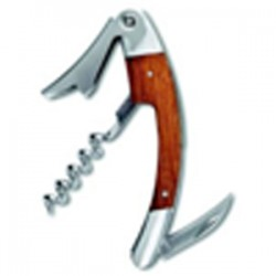 Curved Stainless Steel Corkscrew With Bamboo Inset