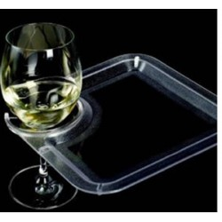 Square Party Plate with Built-In Stemware Holder