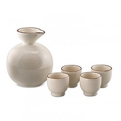 Ivory Crackle Decorator Sake Set